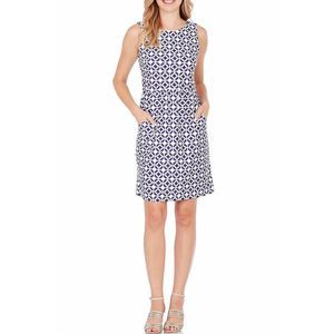 Jude Connally Mary Pat Dress Blue White Geometric